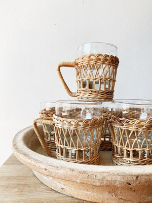 Vintage Set of Wicker, Glass and Clay