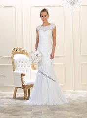 Cap Sleeve Lace Applique & Rhinestone Mesh Wedding Gown- LAMQ1564
