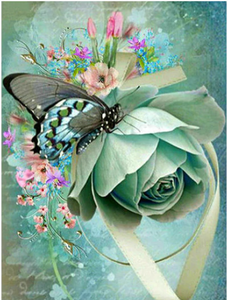 Butterfly & Flower Full Diamond Painting
