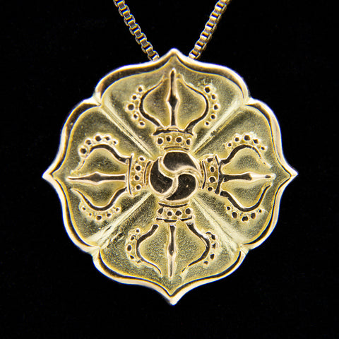 18K Crossed Vajra Pendant