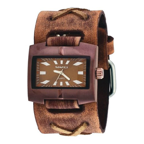 Brown Racing Sport Unisex Watch with Faded Brown X Leather Cuff Band 060BFXB-B