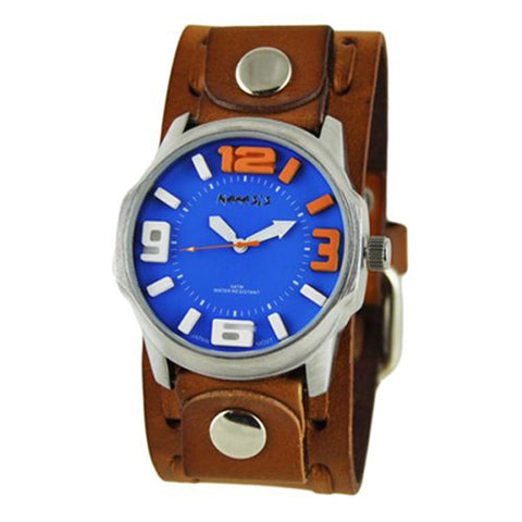 Blue Orange Embossed 3D Collection II Watch with Brown Wide Weaving Leather Cuff Band BWTK107L