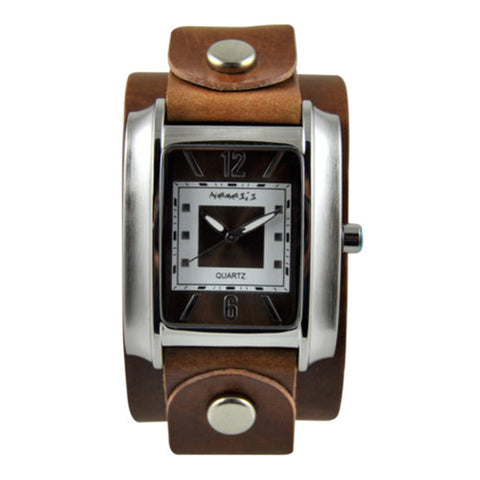 Vintage BrownWhite Square in Square Watch with Brown Junior Size Leather Cuff Band BGB013B