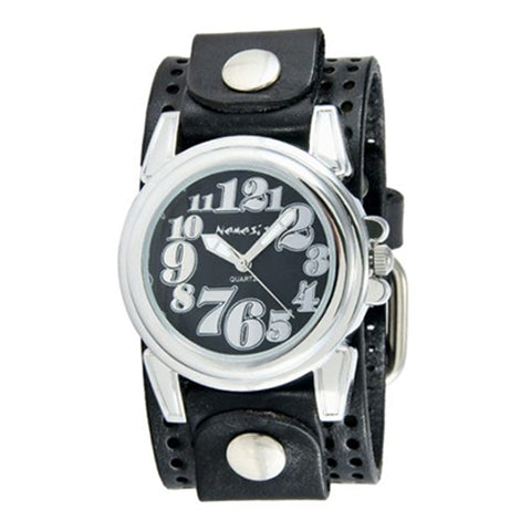 Black Trendy Watch with Black Perforated Leather Cuff Band PLB069K