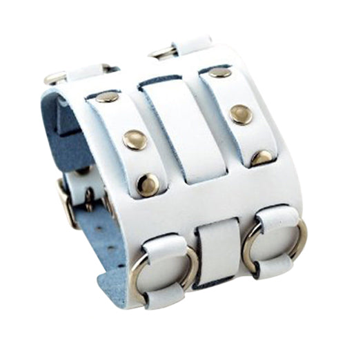 White Wide Detailed Leather Cuff Band WWB