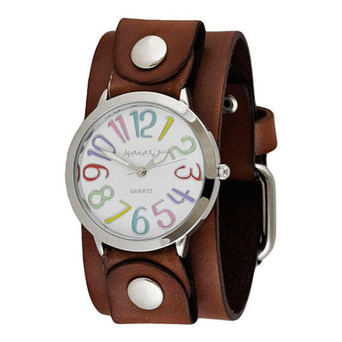 White Multi-Colored Numbers Always Summer Ladies Watch with Junior Size Brown Leather Cuff Band BGB108M