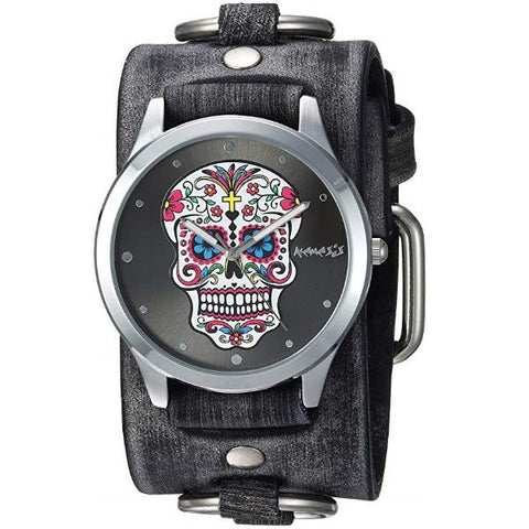 Sugar Skull Watch with Faded Dark Brown Ring Leather Cuff Band FRB925K