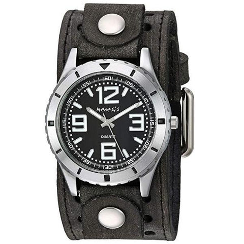 VSTH096K Sporty Racing Watch with Black Vintage Leather Cuff Band
