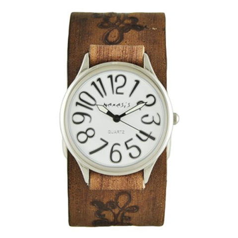 White Always Summer Watch with Faded Brown Embossed Flower Design Leather Cuff Band BVFB108S