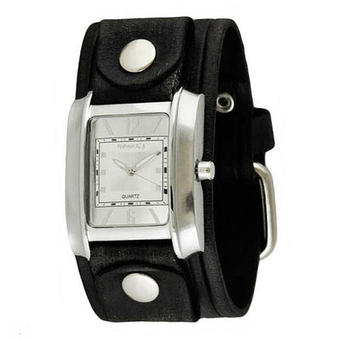 Vintage SilverWhite Square in Square Ladies Watch with Black Vintage Embossed Stripes Leather Cuff Band VEB013S