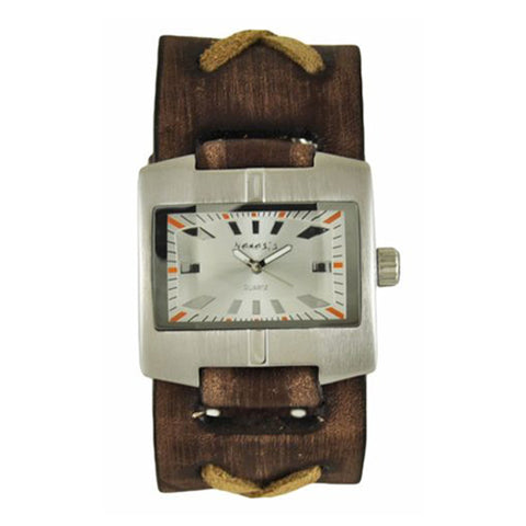Silver Racing Sport Unisex Watch with Faded Brown X Leather Cuff Band BFXB060S