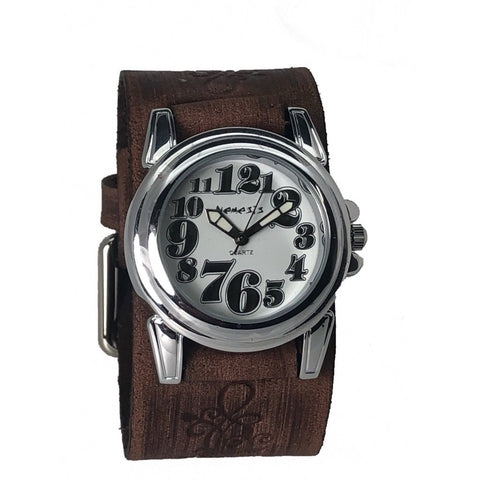Nemesis White Trendy Watch with Faded Brown Embossed Flower Design Leather Cuff Band, BVFB069W