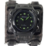 VWB081G Nemesis Stainless steel IP black 5ATM water resistant watch with 3 strips vintage detailed leather cuff band