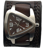 BNWA011B teardrop Stainless Steel Triangle watch with Brown weaved leather cuff band