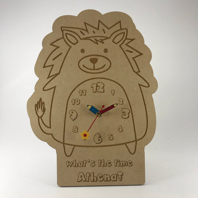 Kids Hanging Clock (Cute Spunky Lion) with Custom Engraving - Wilson-Made