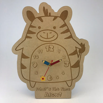 Kids Hanging Clock (Cute Zebra) with Custom Engraving - Wilson-Made