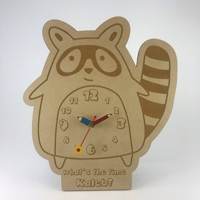Kids Hanging Clock (Cute Racoon) with Custom Engraving - Wilson-Made