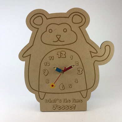 Kids Hanging Clock (Cute Monkey) with Custom Engraving - Wilson-Made