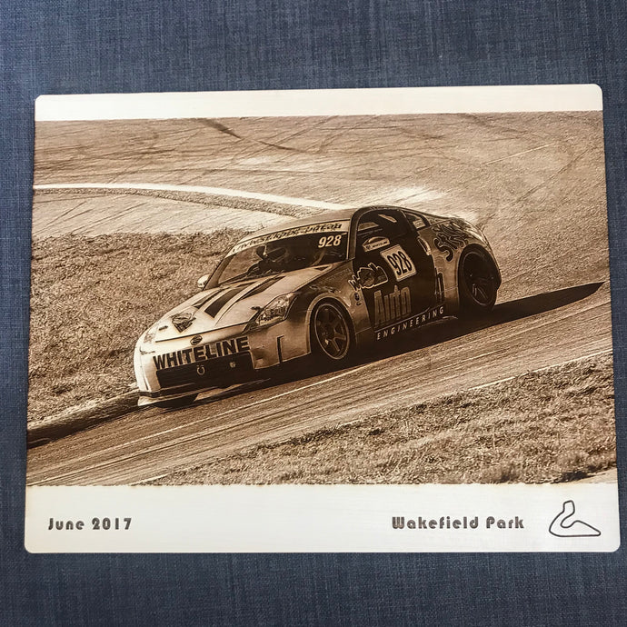 Wooden Photo Engraving (Car Race Track) - Wilson-Made