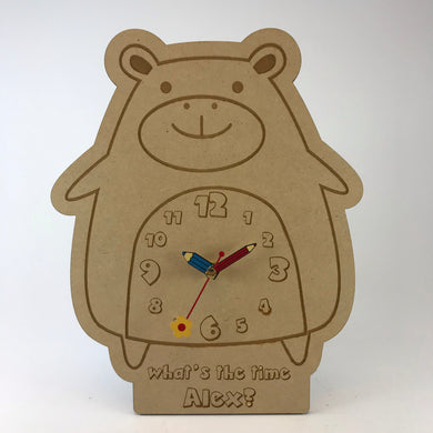Kids Hanging Clock (Cute Hippo) with Custom Engraving - Wilson-Made