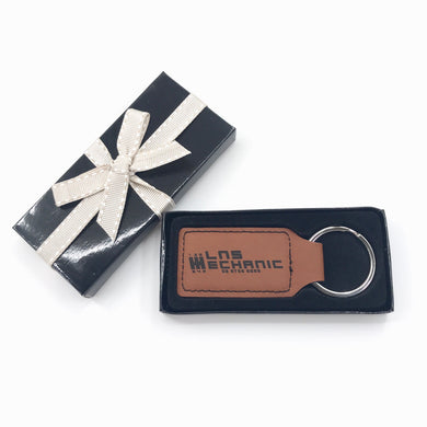 Leatherette Key Ring with Custom Logo Engraving (Tan) - Wilson-Made