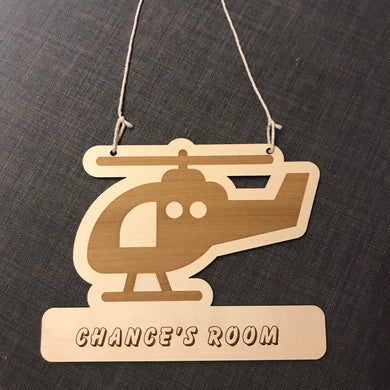 Kids Hanging Name Tag (Cute Helicopter) with Custom Engraving - Wilson-Made