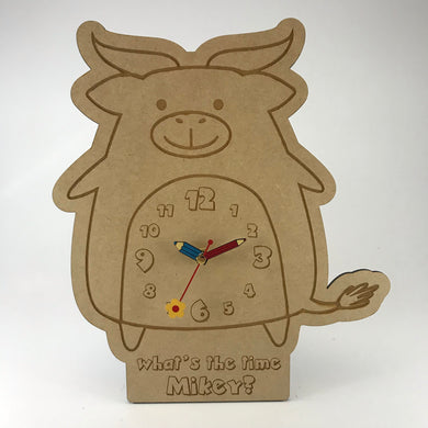 Kids Hanging Clock (Cute Buffalo) with Custom Engraving - Wilson-Made