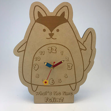 Kids Hanging Clock (Cute Fox) with Custom Engraving - Wilson-Made