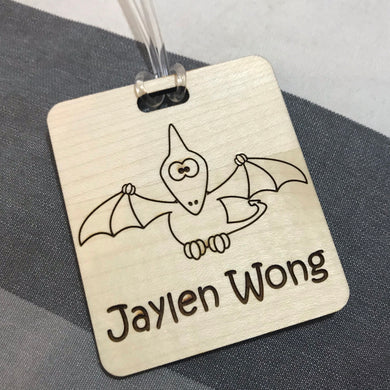 Luggage Tag (Cute Pterodactyl) with Custom Engraving - Wilson-Made