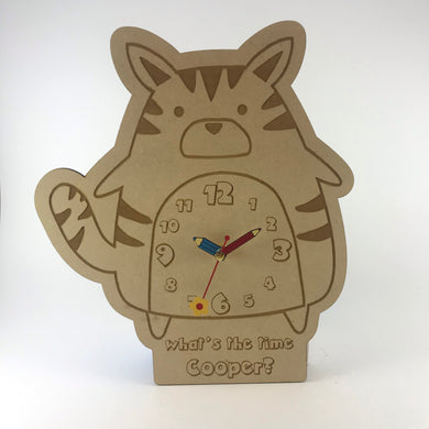 Kids Hanging Clock (Cute Cat) with Custom Engraving - Wilson-Made