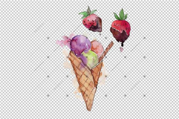 Watercolor Mix Cool Ice Cream Png Set Digital