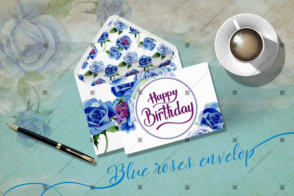 Beautiful Blue Roses Png Watercolor Flower Set Digital