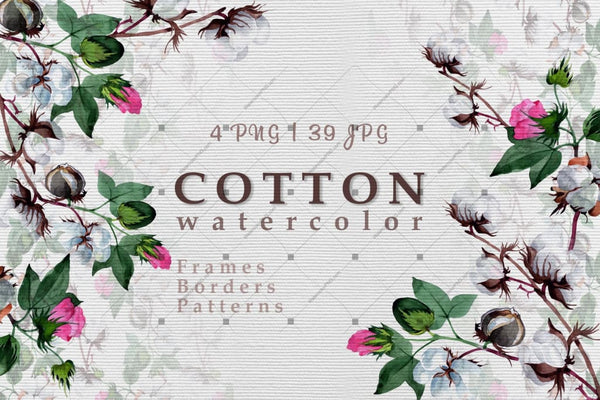 Cool Cotton Png Watercolor Set Digital
