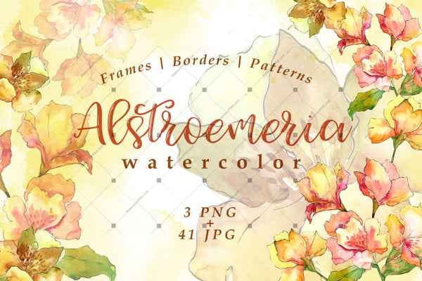 Watercolor Yellow Alstroemeria Flower Png Set Digital