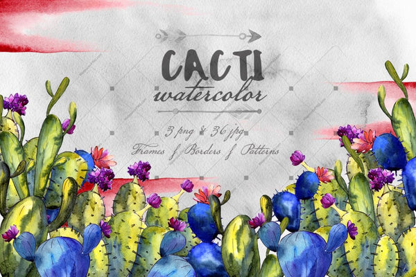 Cacti Watercolor Png Set Digital