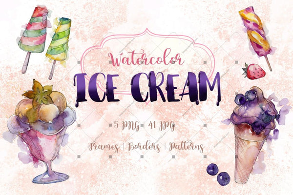 Watercolor Cool Ice Cream Png Set Digital