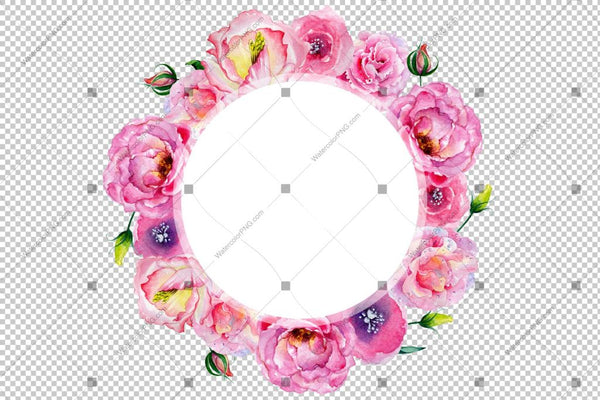 Pink Rose Frame Wreath Flowers Watercolor Png Design