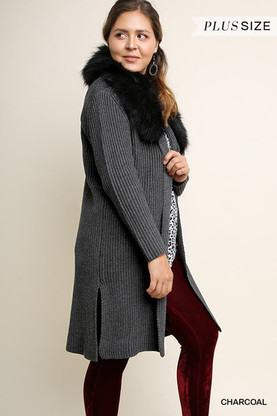 Umgee Cardigan with Removable Faux Fur Collar - Curvy