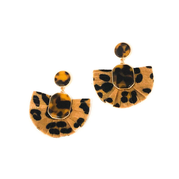Leopard Tortoise Gold Earrings