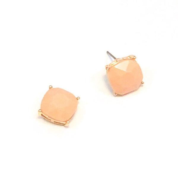 Square Bead Studs - Peach