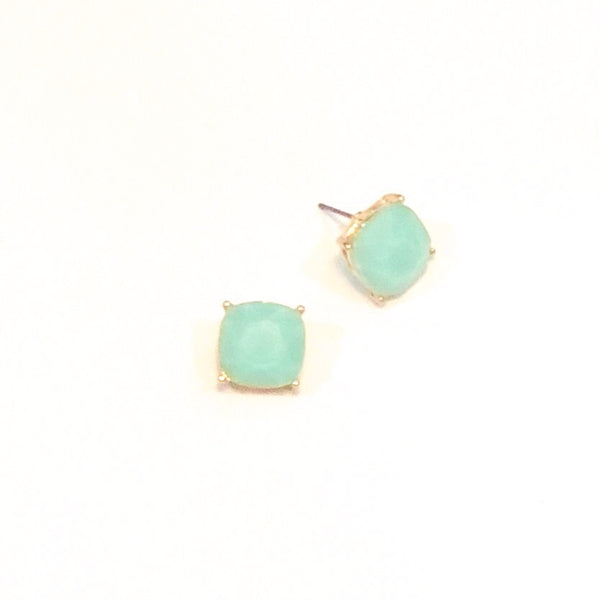 Square Bead Studs - Mint