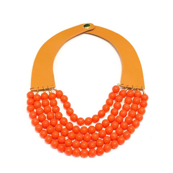 Stone Layered Bib Necklace - Coral