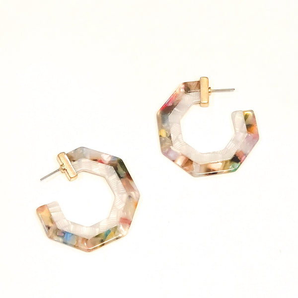Resin Octagon Flat Hoops - Multi