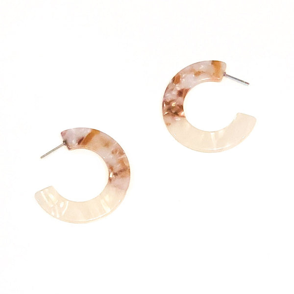 Two-tone Acrylic Oval & Disc Earrings - Cream
