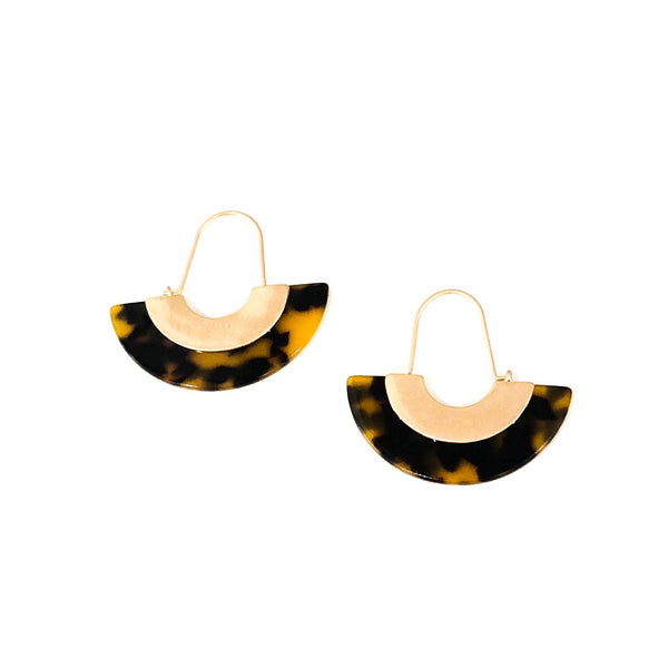 Tortoise Worn Gold Crescent Earrings