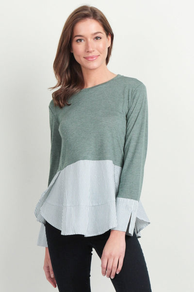 Kale Green Stripe Contrast Knit Top