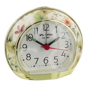 WILLIAM WIDDOP ROUND ALARM CLOCK - YELLOW FLOWER  9501YF