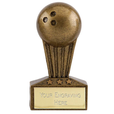 Gold Micro Bowling Trophy 7.5cm (3