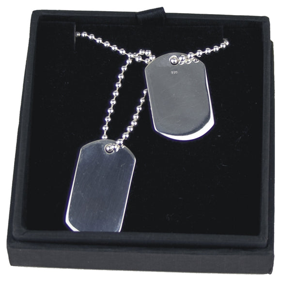JW013 925 SILVER DOUBLE DOG TAGS ON 20 INCH BALL CHAIN  http://rjsmith-son.co.uk