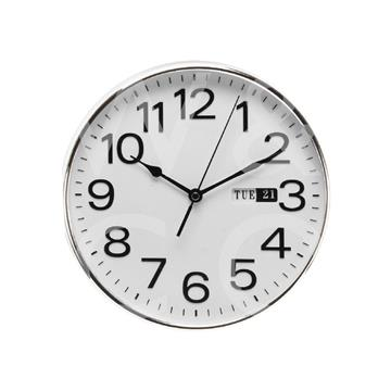 WILLIAM WIDDOP DAY/DATE WALL CLOCK - SILVER  W7810